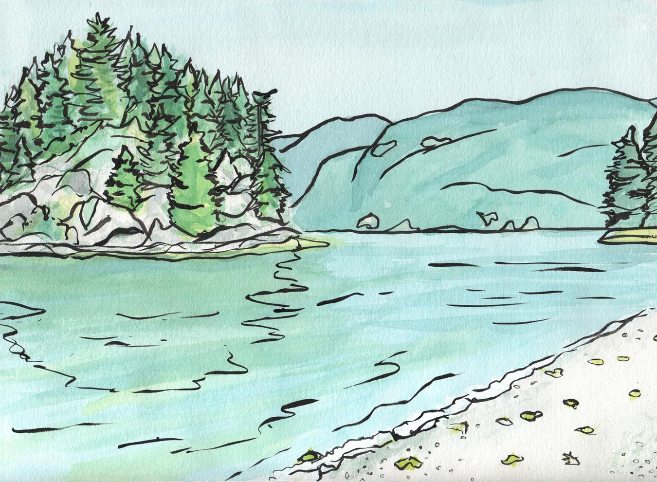 Jug Island Beach swimming hole near Vancouver