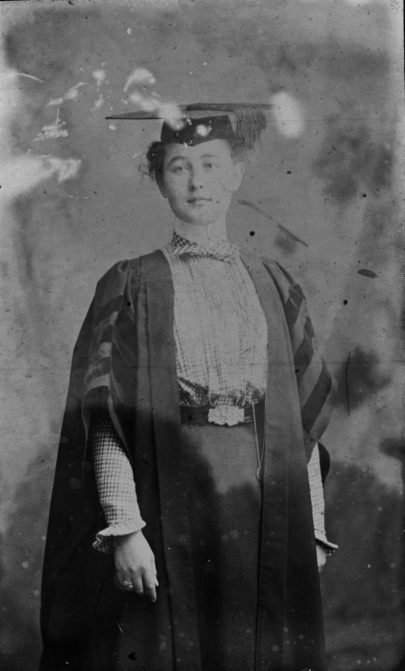 Maud Menten in graduation cap and gown.