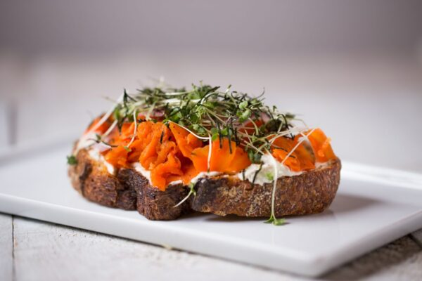 Roots + Fruits Smoked Carrot Lox Toast