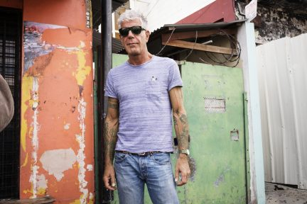 Anthony Bourdain on set in Trinidad
