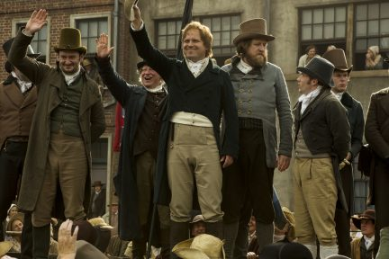PETERLOO featuring John-Paul Hurley as John Thacker Saxton, Ian Mercer as Dr. Joseph Healey, Rory Kinnear as Henry Hunt, and Neil Bell as Samuel Bamford courtesy of Amazon Studios.