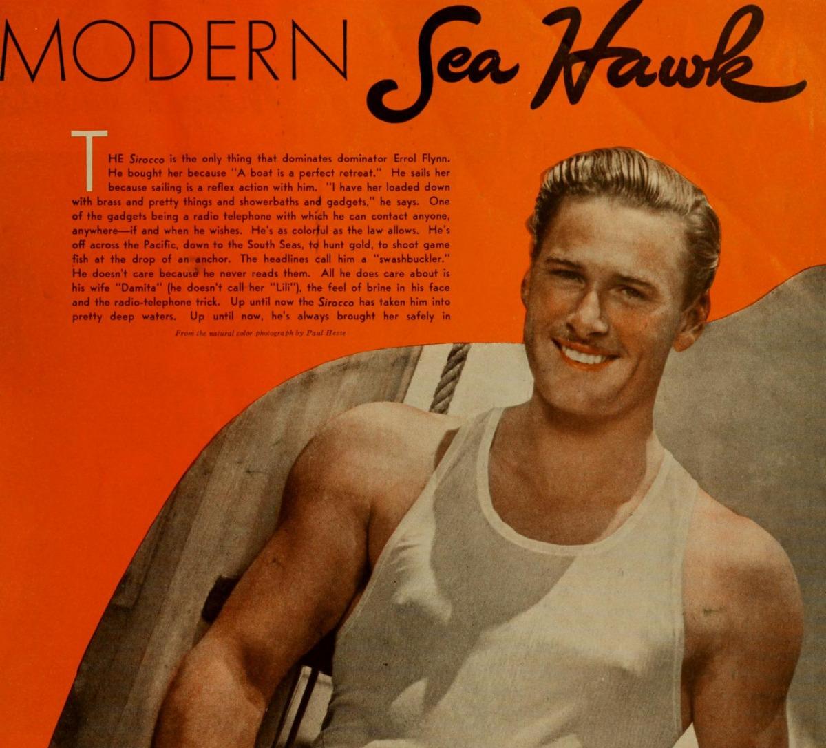 Errol Flynn in a color publicity still for The Sea Hawk.