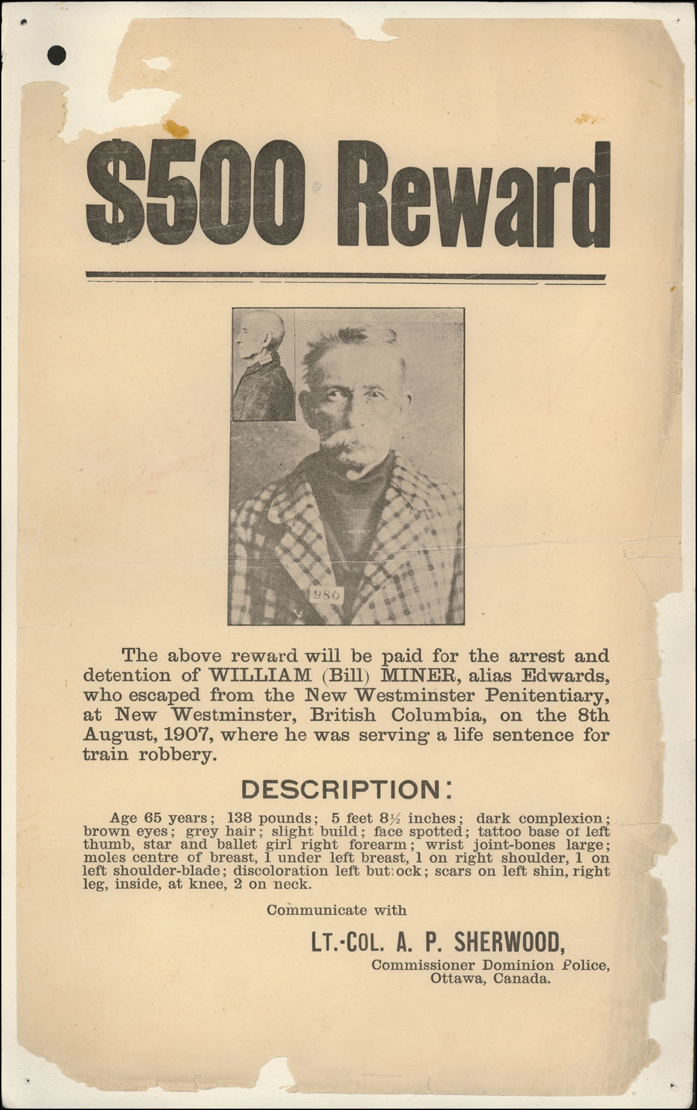 Reward notice for Bill Miner. Photo from Library and Archives Canada.