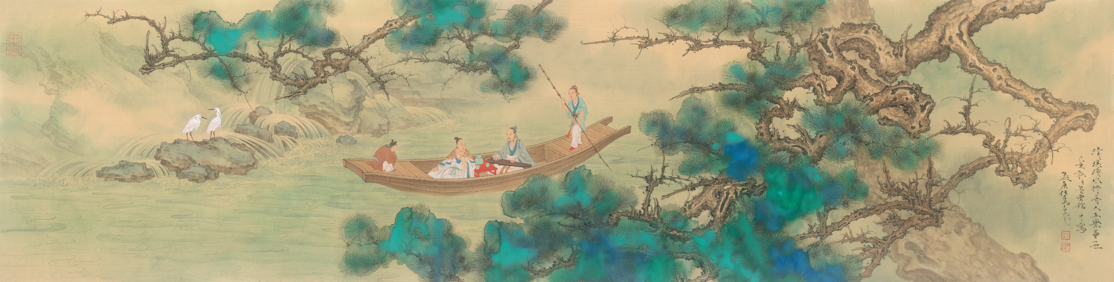 """Boating in a Limpid Stream."" Painting by Ren Zhong"
