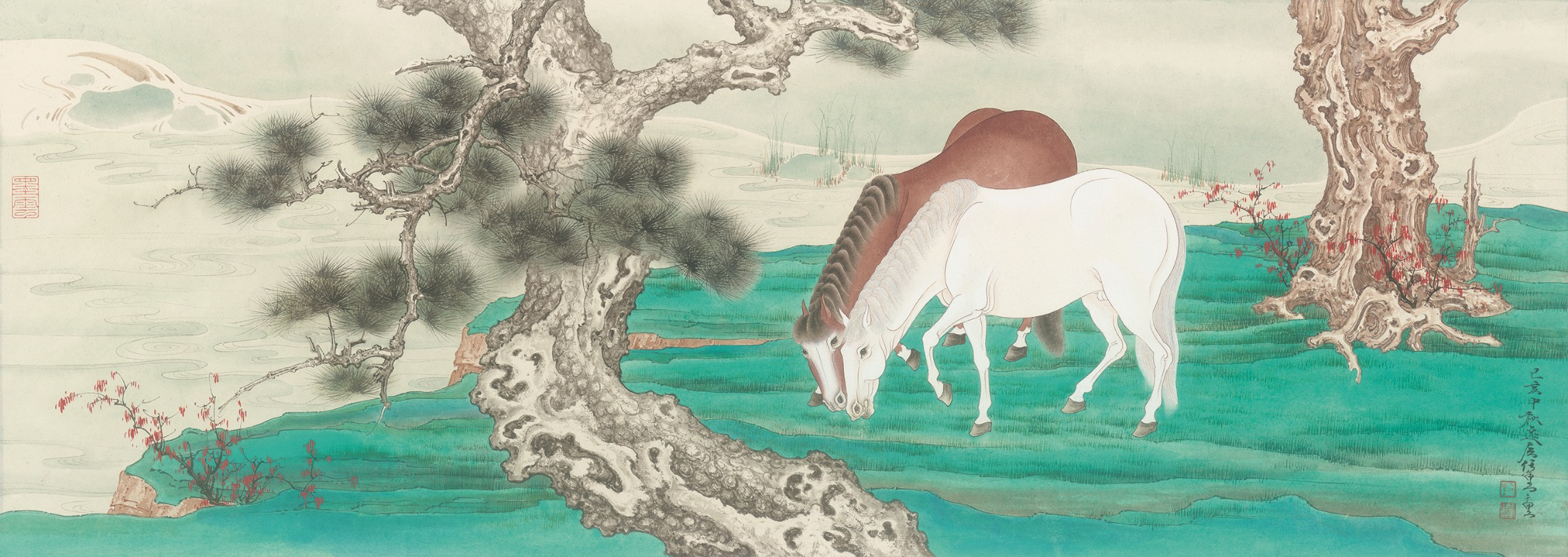 """Horses Along the Pine River."" Painting by Ren Zhong."