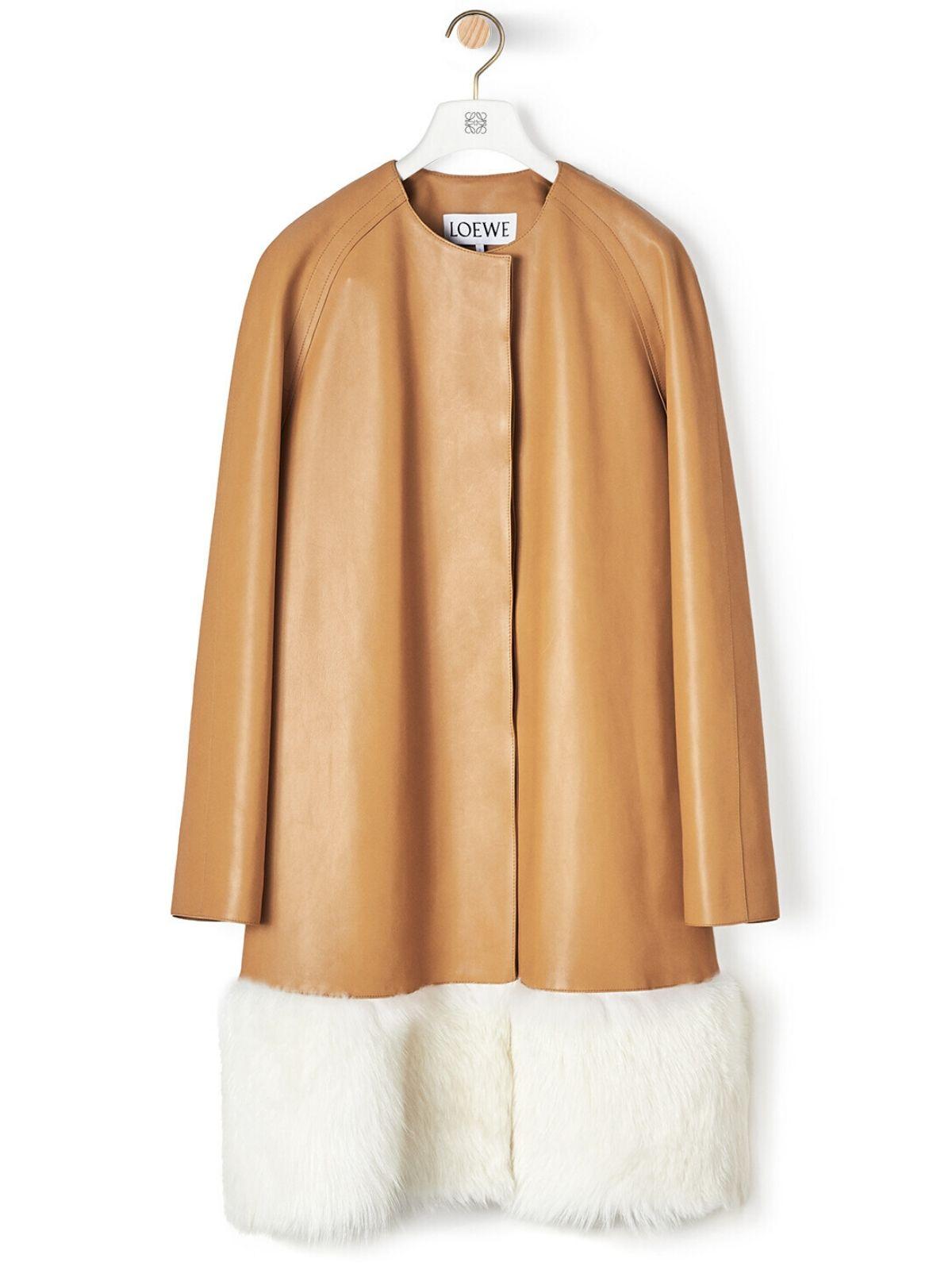 Loewe Shearling Trim Camel coat