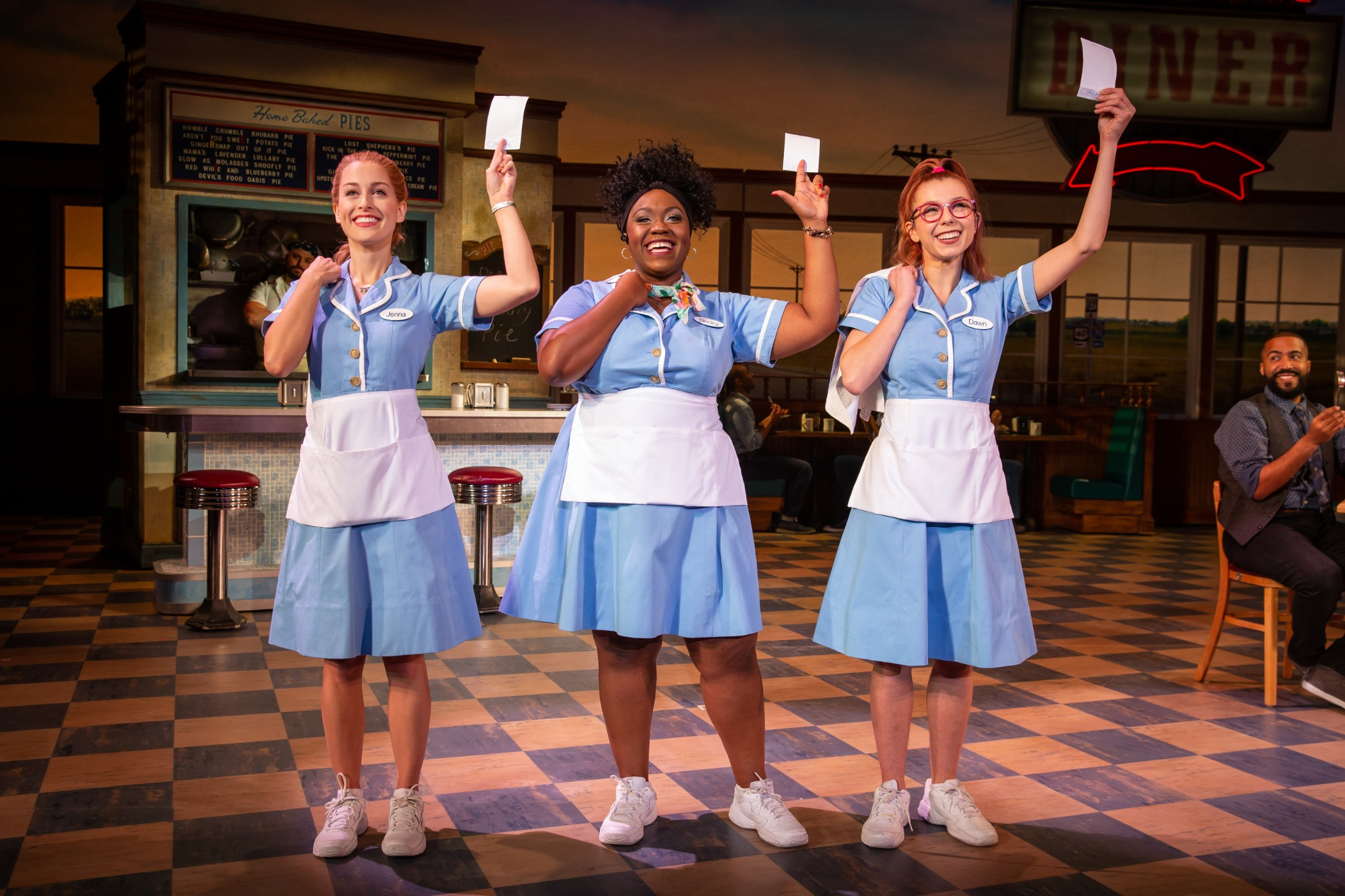 Bailey McCall as Jenna, Kennedy Salters as Becky, and Gabriella Marzetta as Dawn in the National Tour of Waitress. Photo credit: Jeremy Daniel.