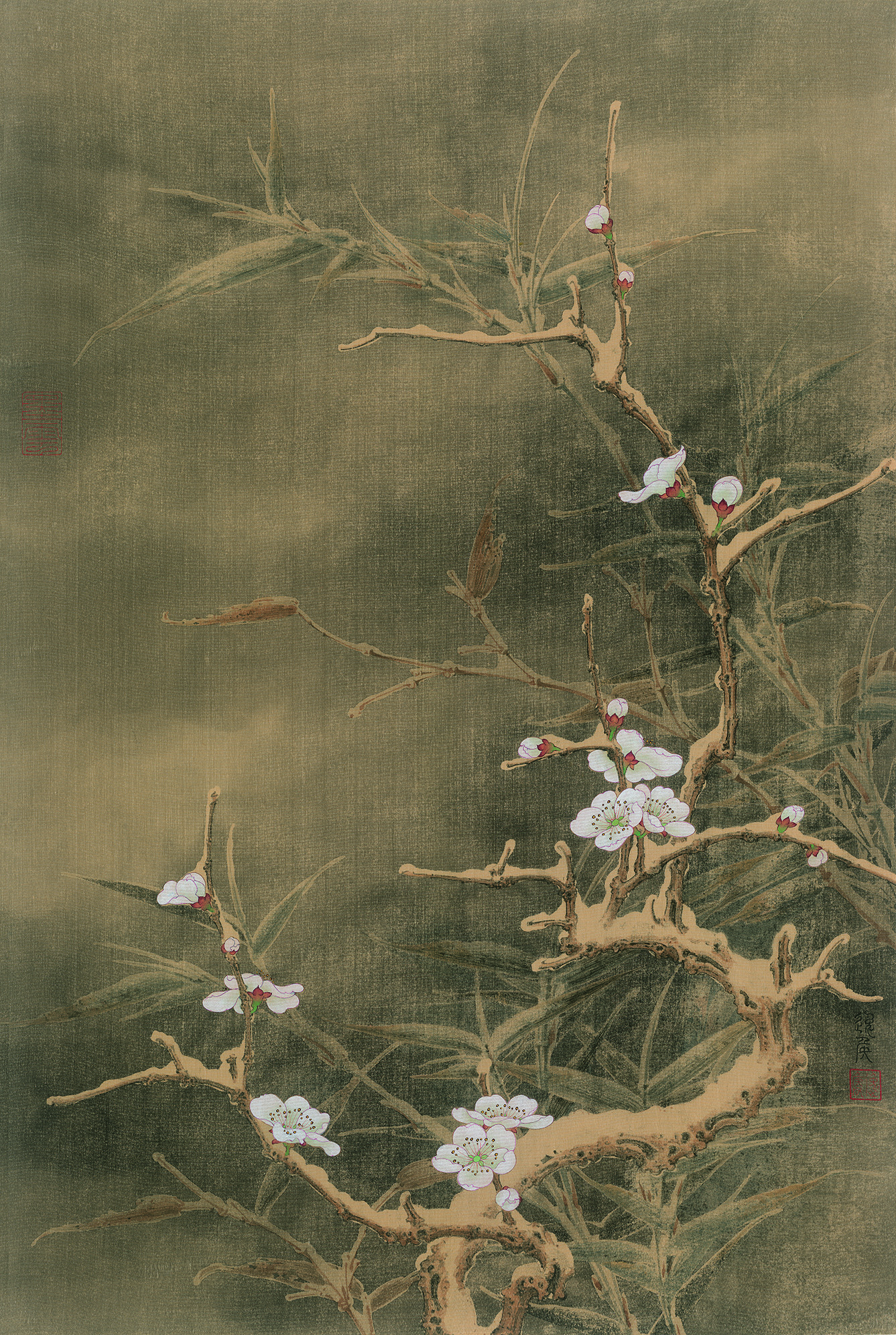 """Plum Blossom and Bamboo."" Painting by Ren Zhong."