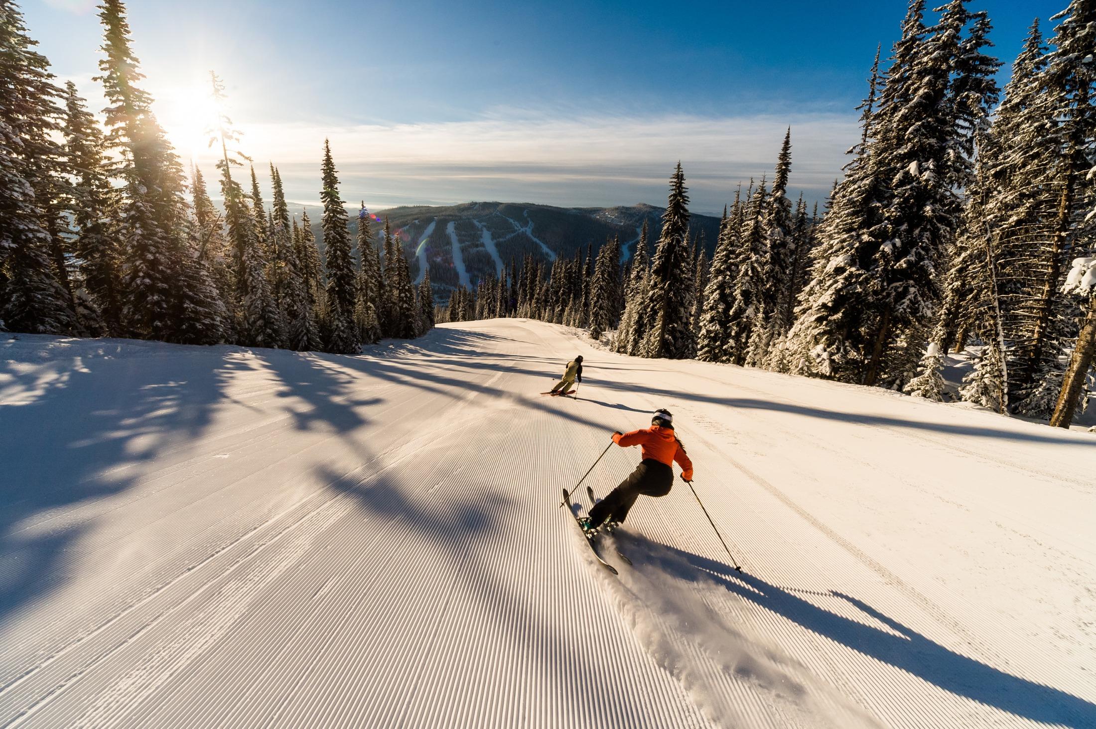 A Sun Peaks ski run by day. Photo by Reuben Krabbe/Tourism Sun Peaks.