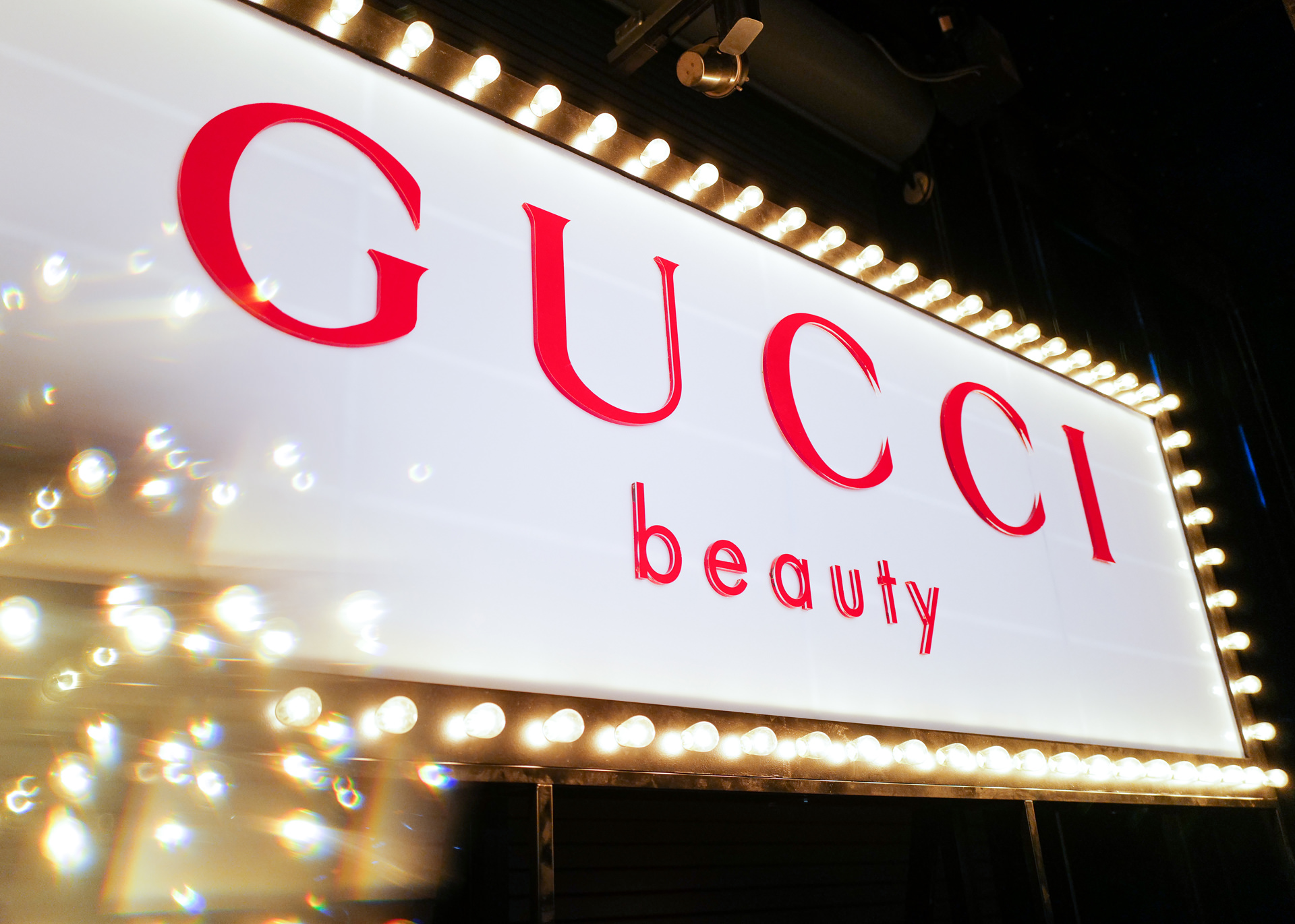 Gucci Beauty pop-up party sign