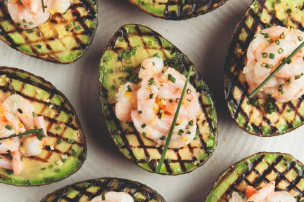 Araxi shrimp in grilled avocado