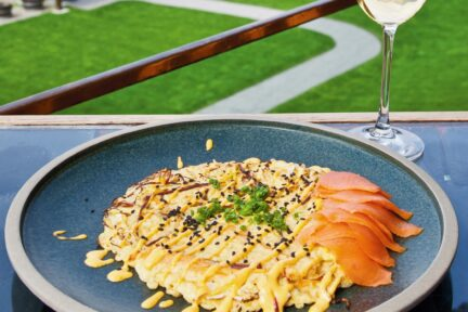 Summerhill Okonomiyaki with Smoked Salmon