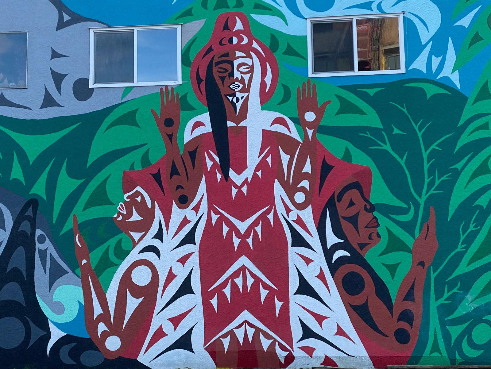 Indigenous outdoor art mural Vancouver