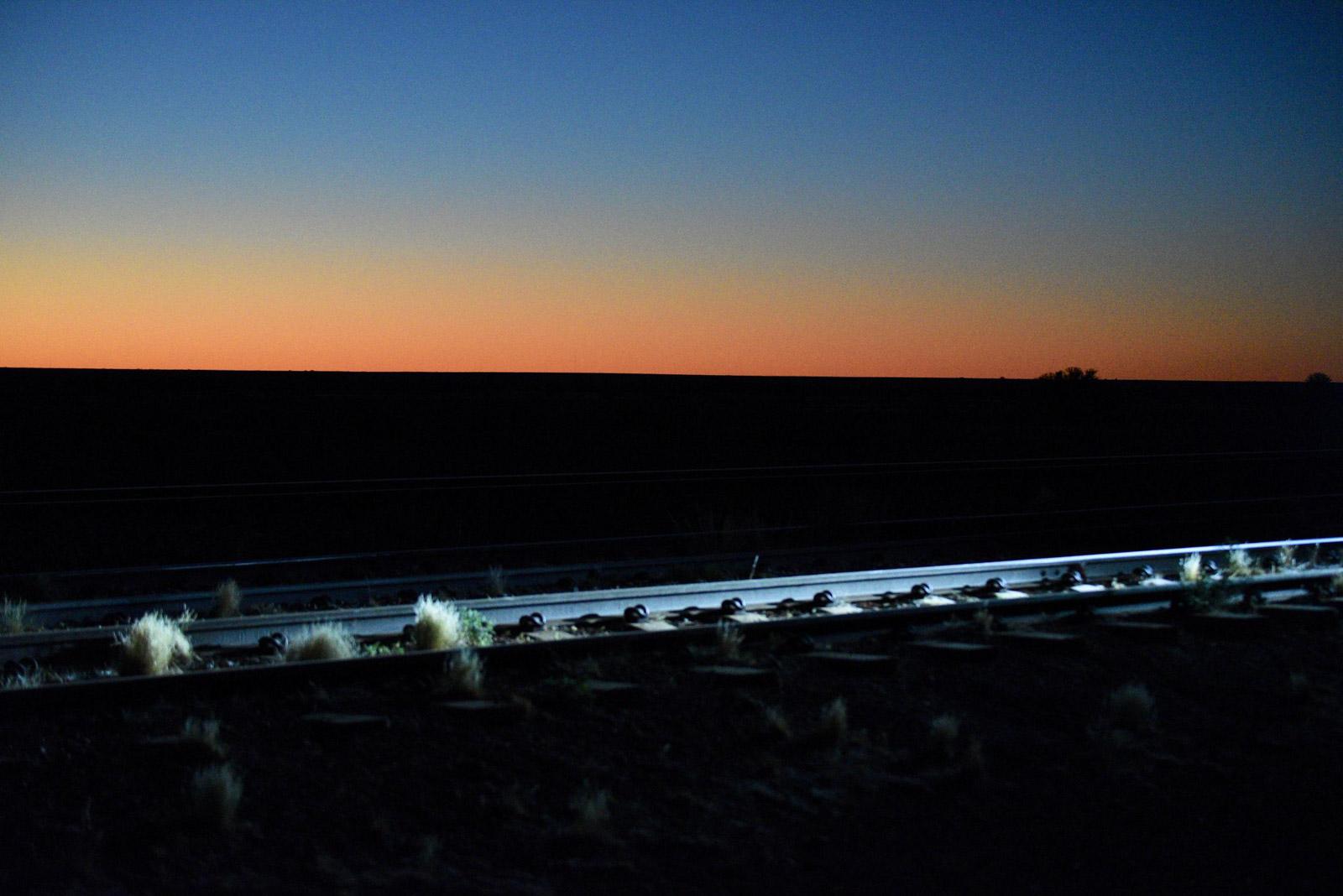 The Ghan railway tracks in Australia