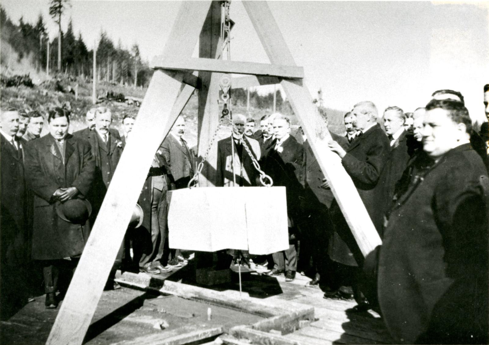 Lieutenant Governor Thomas Patterson lays first corner stone at Essondale, 1908.